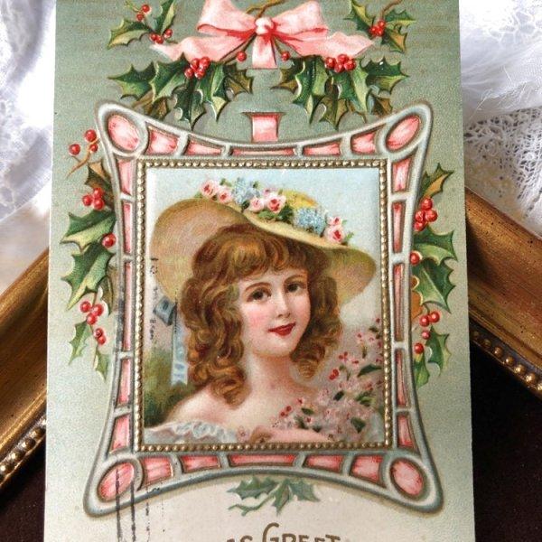 画像1: Postcard クリスマス 帽子の女の子  (1)