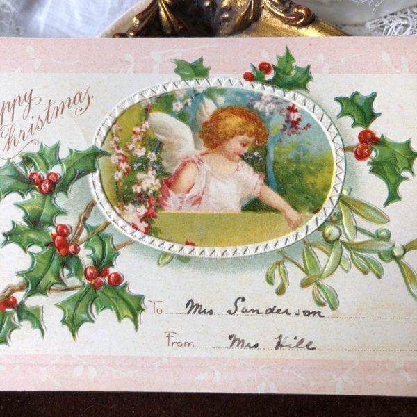 画像1: Postcard クリスマス 天使 ヤドリギとホーリー Ellen Clapsaddle  (1)