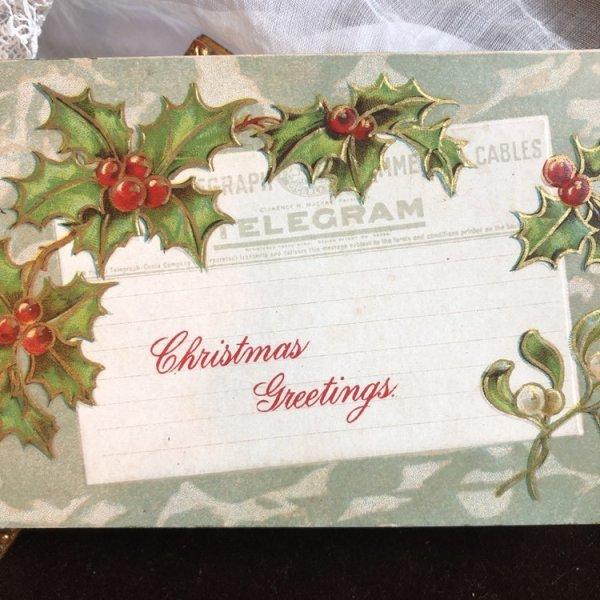 画像1: Postcard クリスマス 電報 ホーリーとヤドリギ アメリカ1910年 (1)