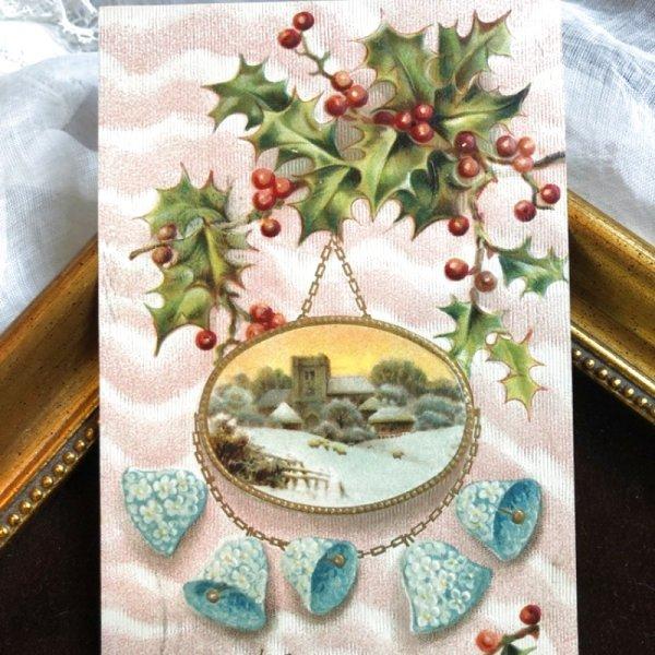 画像1: Postcard クリスマス ホーリーと忘れな草のお花のベル 教会 1909年 (1)