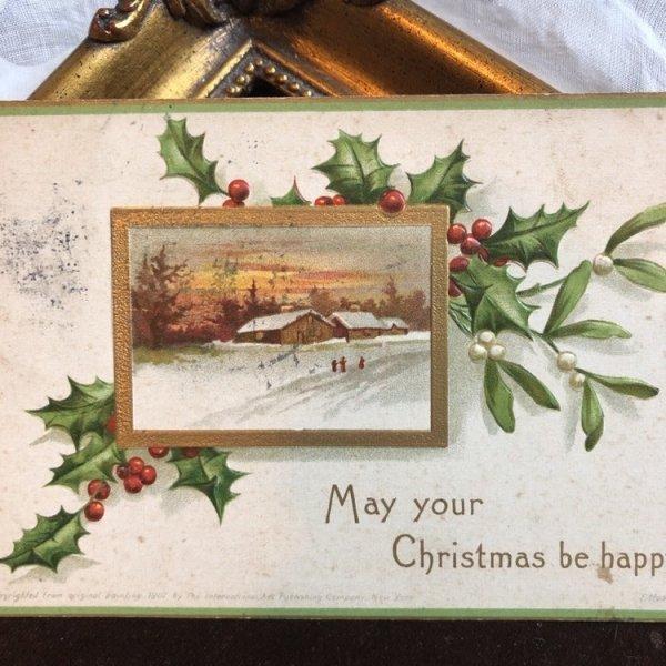 画像1: ▼SALE 500▼ Postcard クリスマス ホーリーとヤドリギ 雪景色 1908年 (1)