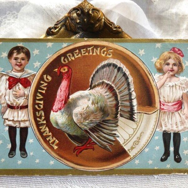 画像1: Postcard 感謝祭 サンクスギビング パイ皿の七面鳥と子ども 1908年 (1)