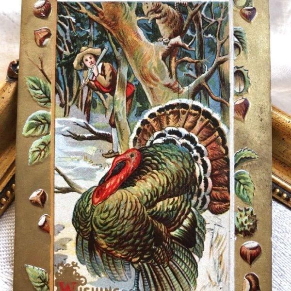 画像1: Postcard 感謝祭 サンクスギビング 七面鳥と猟師 栗   (1)