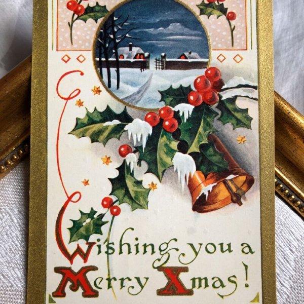 画像1: ▼SALE 500▼ Postcard クリスマス ベルとホーリー (1)