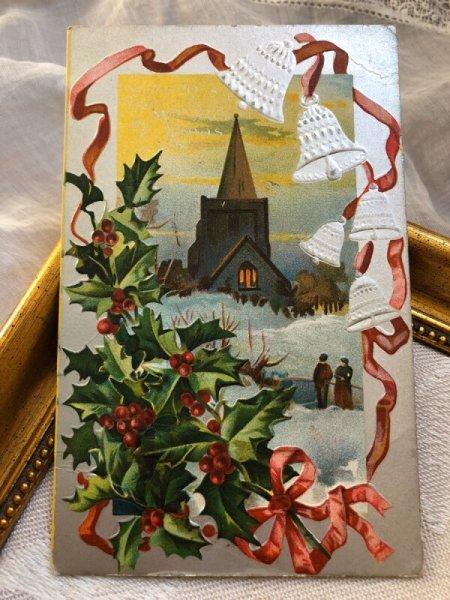 画像1: ▼SALE 500▼ Postcard クリスマス ホーリーと教会の雪景色 ベル  (1)