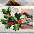 画像1: Postcard クリスマス ホーリーと雪景色 1911年 (1)