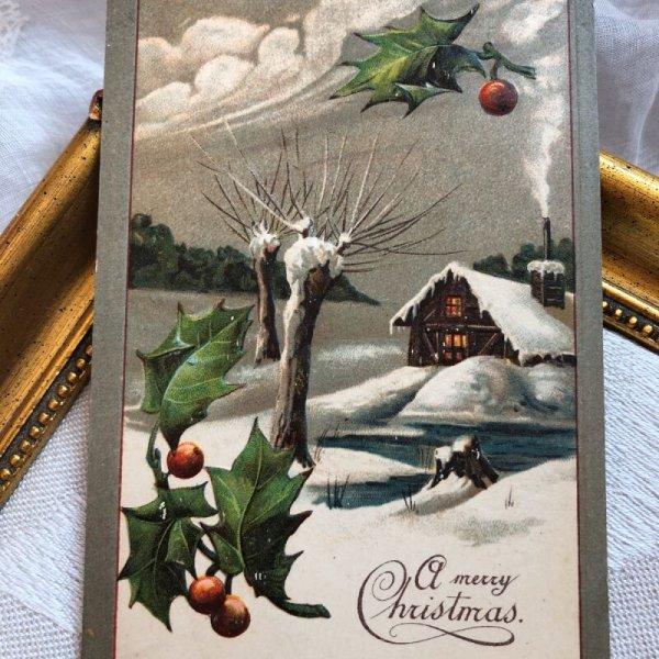 画像1: Postcard クリスマス ホーリーと雪景色  (1)