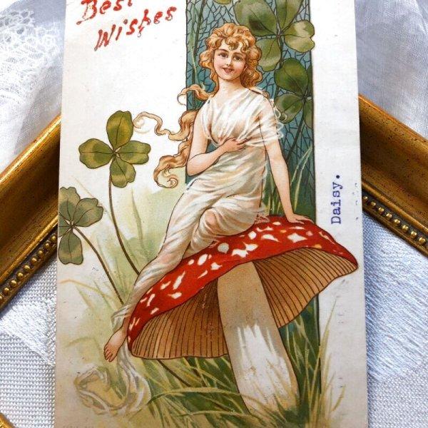 画像1: Postcard キノコに座る女性 女神 アメリカ1907年 (1)
