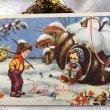 画像1: Postcard 新年祝い New Year 靴下を編むお婆さんとヤドリギを運ぶ男の子 キノコ (1)