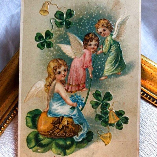 画像1: Postcard  新年祝い 四葉と金貨袋を運ぶ天使 1907年 (1)