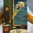画像1: Postcard  新年祝い 飛び出すシャンパン栓とお月様  (1)