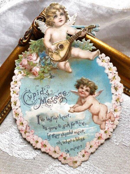 画像1: Greeting Card  バレンタイン マンドリンを弾く天使 Francis Brundage (1)