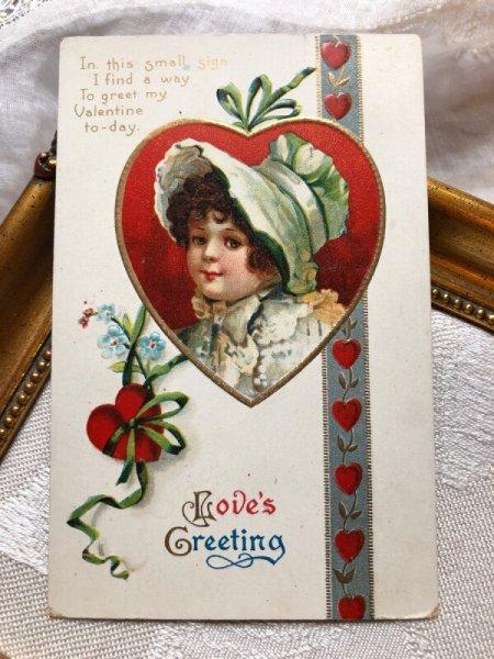 画像1: Postcard  バレンタイン 帽子の女の子 ハート  Ellen Clapsaddle (1)