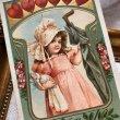 画像2: Postcard  バレンタイン 傘とお人形さんを持つ女の子 Francis Brundage ? (2)