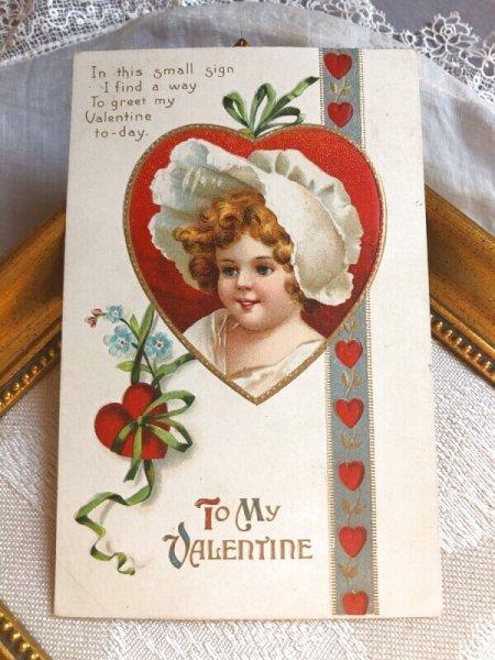 画像1: Postcard  バレンタイン 白い帽子の女の子  Ellen Clapsaddle (1)