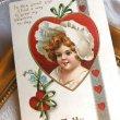 画像2: Postcard  バレンタイン 白い帽子の女の子  Ellen Clapsaddle (2)