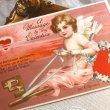 画像2: Postcard  バレンタイン 忘れな草のお花の鍵に乗る天使 ハートの太陽  Ellen Clapsaddle (2)