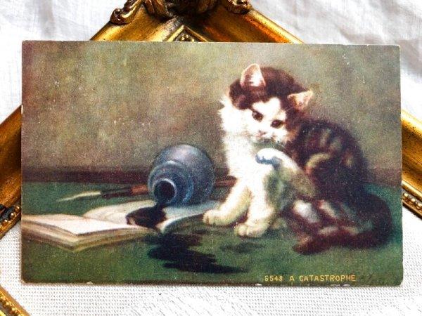 画像1: Postcard  インクをこぼしてしまった子猫 (1)