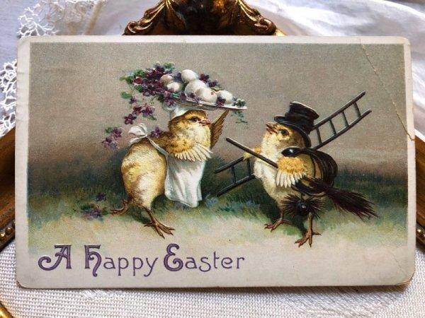 画像1: Postcard  イースター 卵を運ぶシェフと煙突掃除夫 ヒヨコ Ellen Clapsaddle (1)