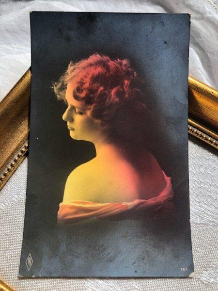 画像1: Postcard  女性の横顔 写真 (未使用) (1)