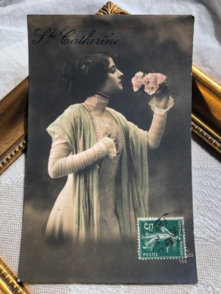 画像1: Postcard  薔薇のお花と女性 横顔 フランス1912年 (1)