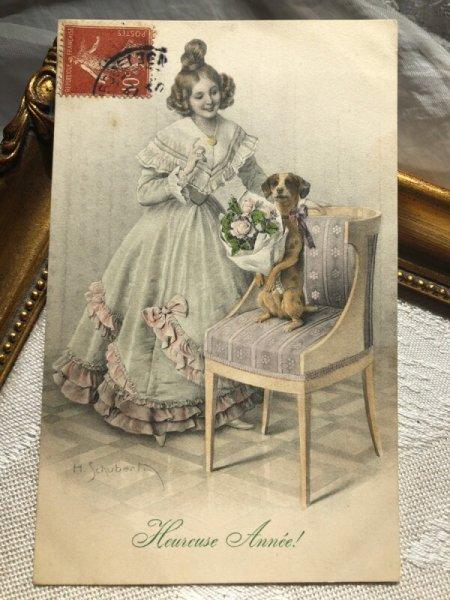 画像1: Postcard 花束を持つ犬と女の子 H.Shubert M.M.VIENNE (1)