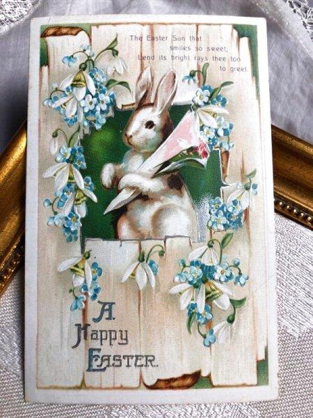 画像1: Postcard  イースター 忘れな草とスノードロップのお花と白いウサギさん E.Clapsaddle (1)
