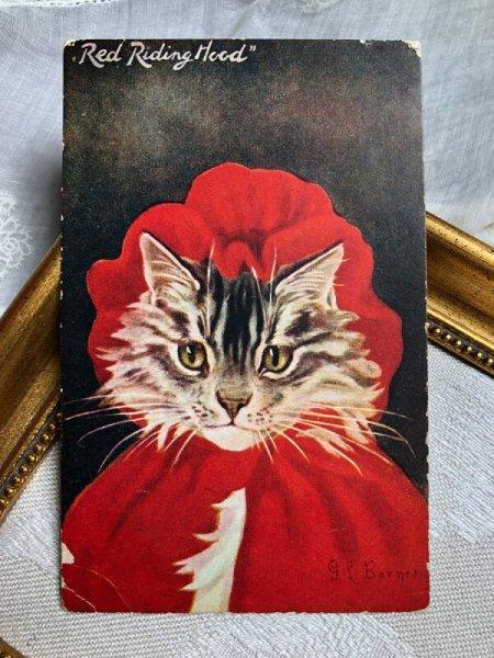 画像1: Postcard   赤ずきんちゃん 猫 G.L.Barnes (未使用) (1)