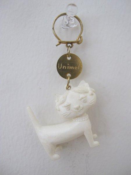 画像1: Vintage Key Ring  Unimel フランス製 ユニメル お洒落キャットのキーホルダー(白) (1)