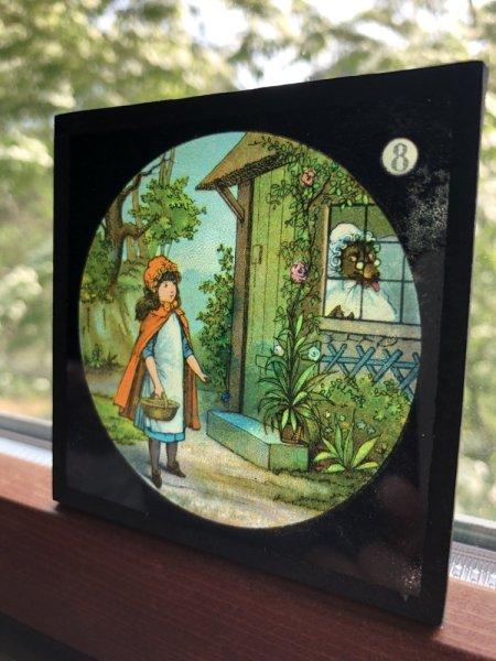 画像1: Antique Magic Lantern Glass Slide アンティーク マジックランタン・スライド 赤ずきんちゃん(8) (1)