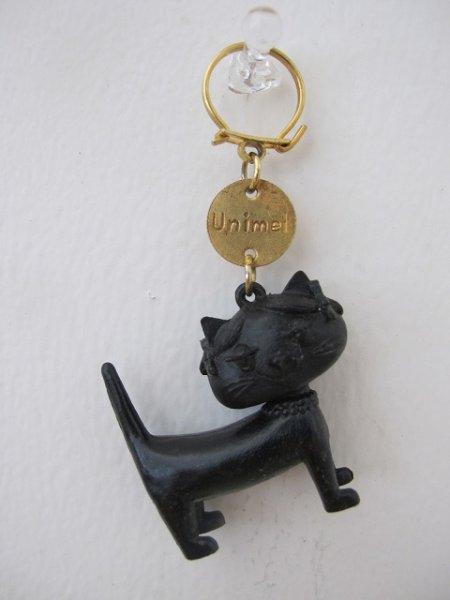 画像1: Vintage Key Ring  Unimel フランス製 ユニメル お洒落キャットのキーホルダー(黒) (1)