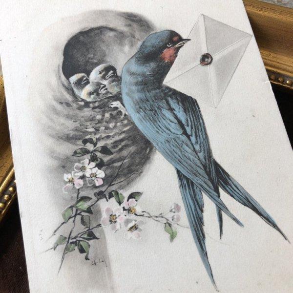 画像1: Postcard 手紙とツバメ イギリス1913年 (1)