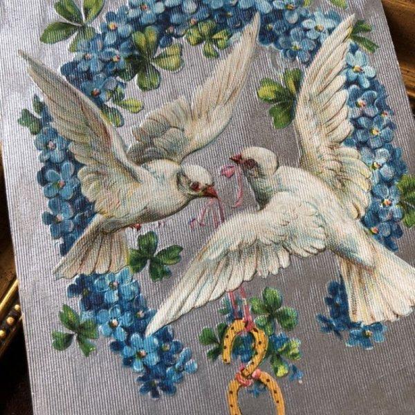 画像1: Postcard バレンタイン 白い鳩と忘れな草のお花の馬蹄 (1)