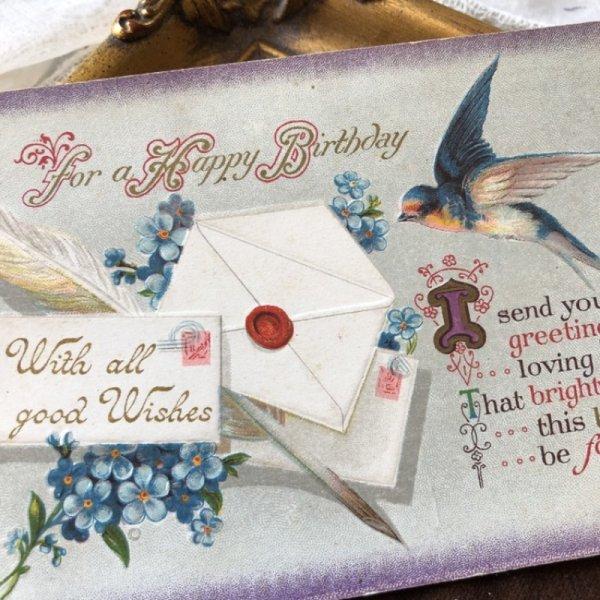 画像1: Postcard 手紙とツバメと忘れな草のお花 (1)