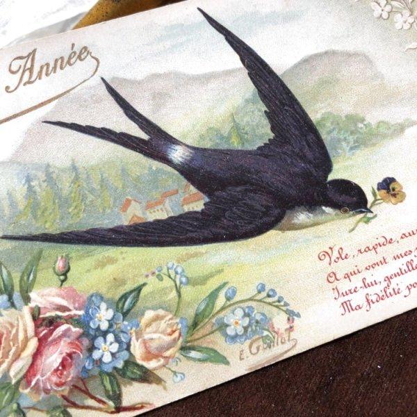 画像1: Postcard お花を運ぶツバメ フランス (1)