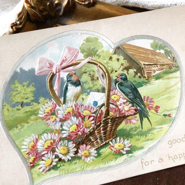 画像1: Postcard お花籠とツバメ アメリカ1910年 (1)