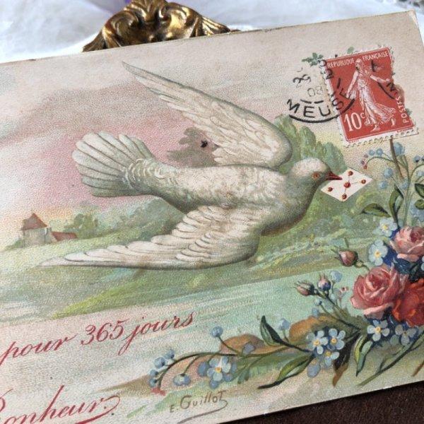 画像1: Postcard 手紙を運ぶ白鳩 フランス1908年 (1)