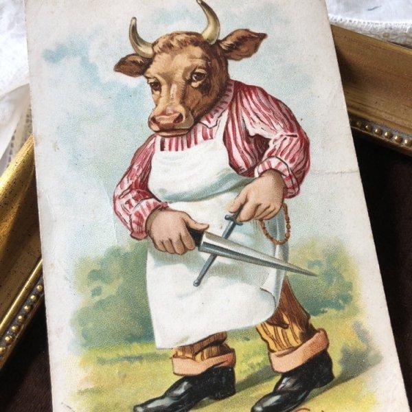 画像1: Postcard 包丁を持った牛さん 肉屋 (1)